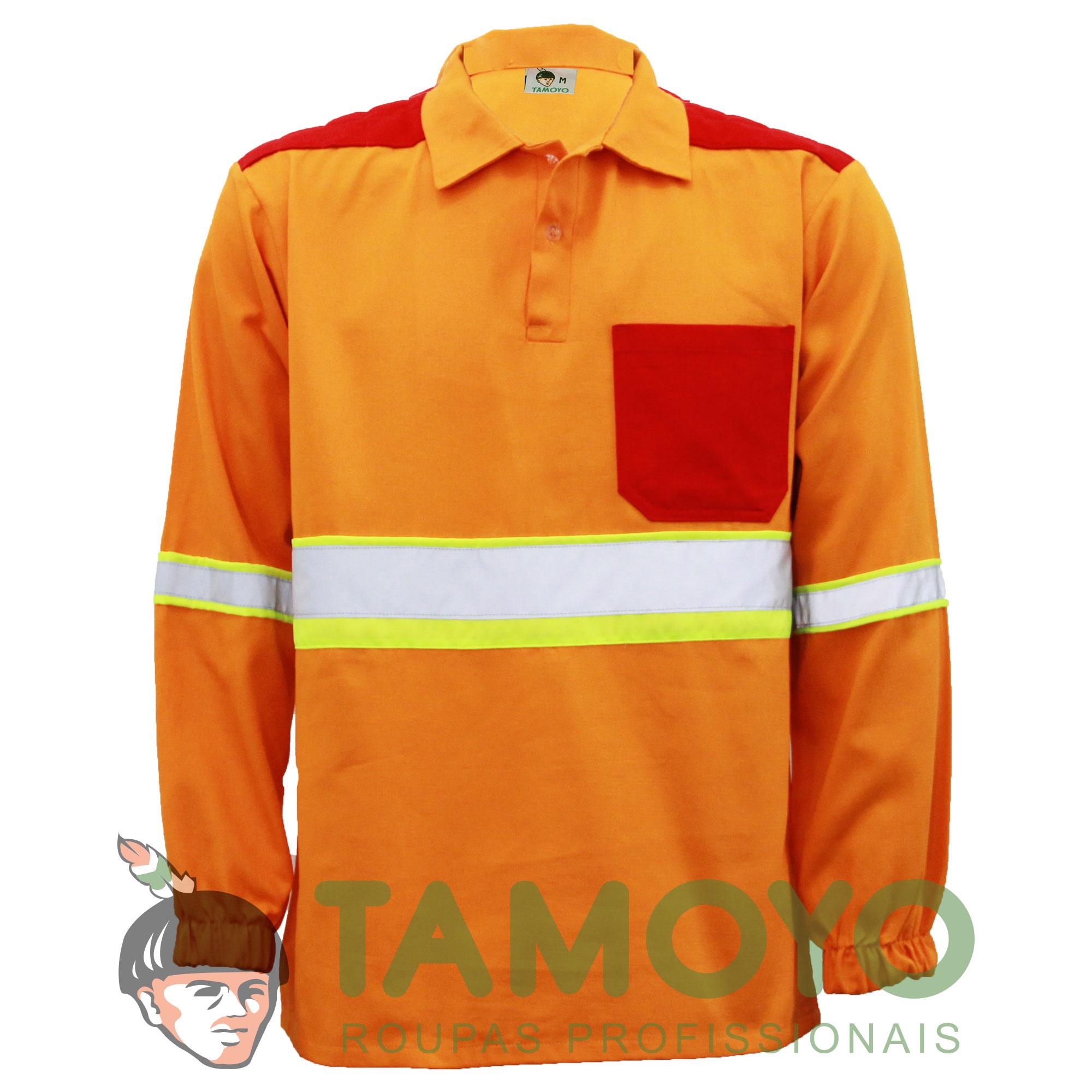 Camisa polo manga longa com refletivo